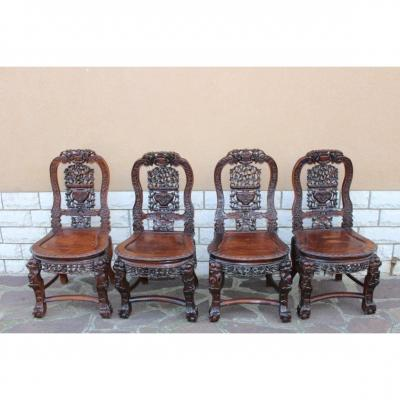 4 Chinese Chairs In Iron Wood Carved XIX Century
