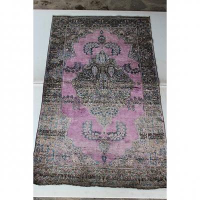 Rare Tapis Kashan Antique En Soie (antique Silk Kashan Carpet) Debut XX Siecle