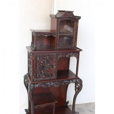 Asian Cabinet / Shelf In Carved Wood, Around 1900