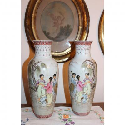 Pair Of Chinese Vases With Figures, Dated 1961