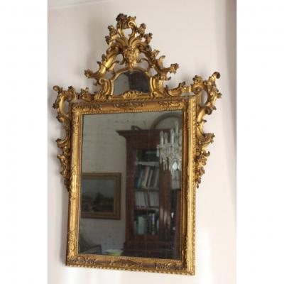 Louis XIV Venetian XVIII Century Mirror In Carved And Gilded Wood