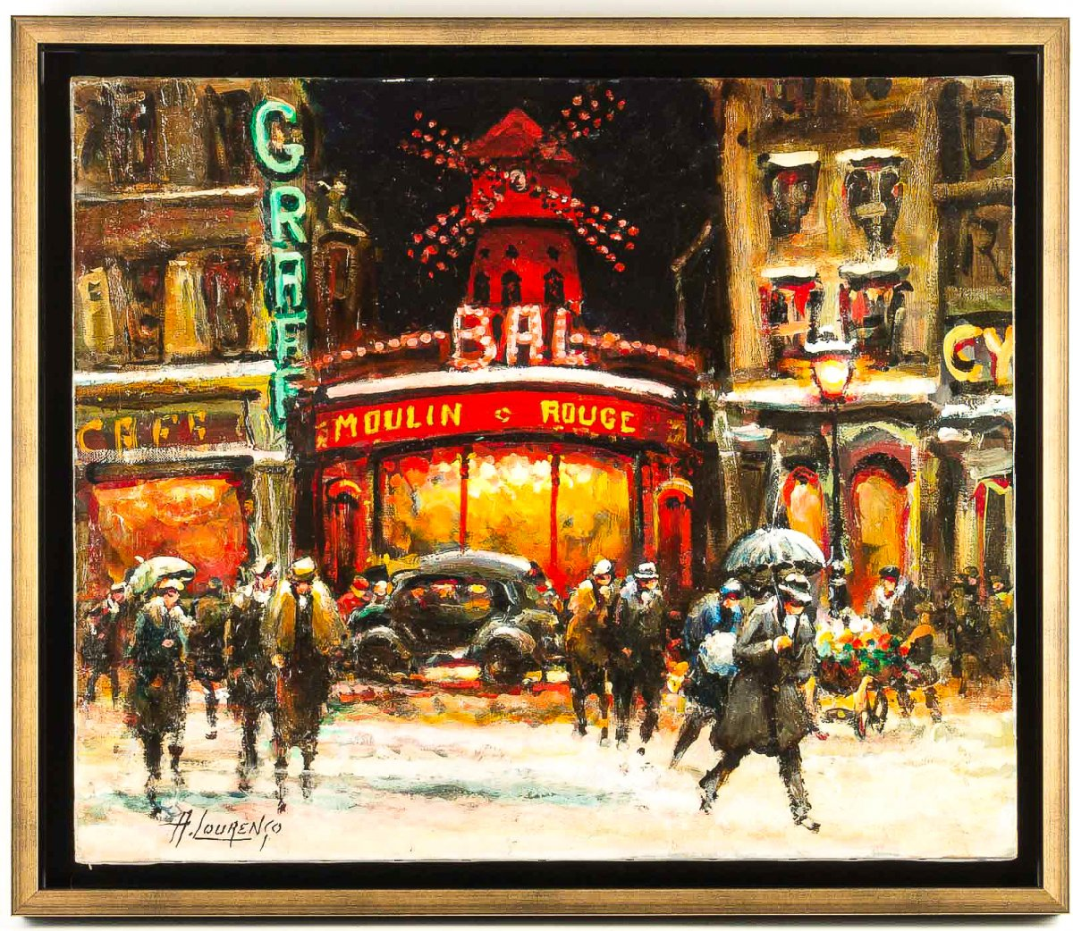 Armand Lourenco Oil On Canvas Paris View Of The Moulin Rouge Under The Snow Circa 1950's