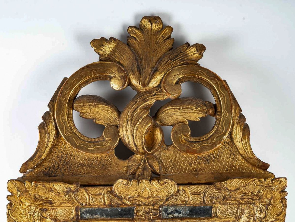 French Regence Period, Small Gilt-wood Top-front Mirror Circa 1715-1723-photo-2