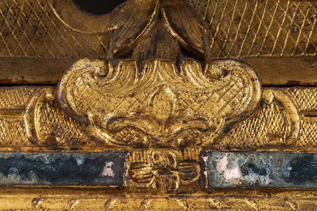 French Regence Period, Small Gilt-wood Top-front Mirror Circa 1715-1723-photo-3