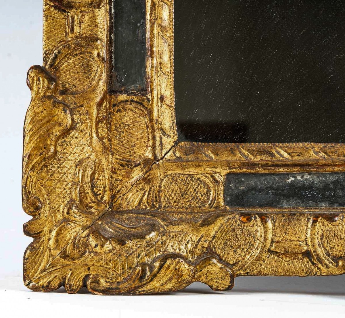 French Regence Period, Small Gilt-wood Top-front Mirror Circa 1715-1723-photo-1