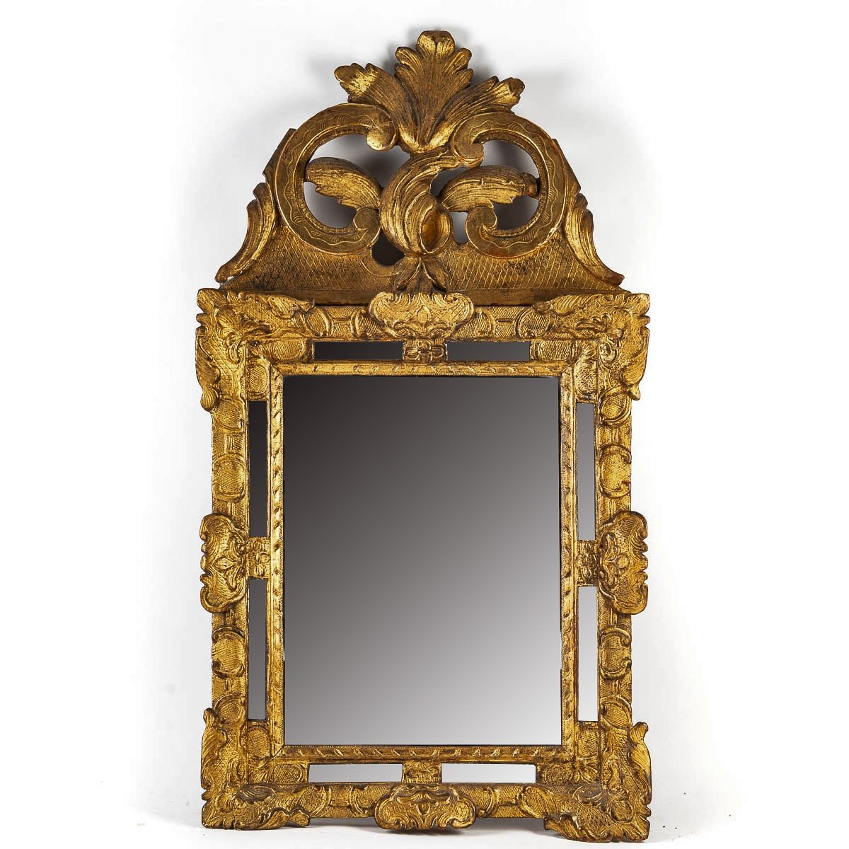 French Regence Period, Small Gilt-wood Top-front Mirror Circa 1715-1723