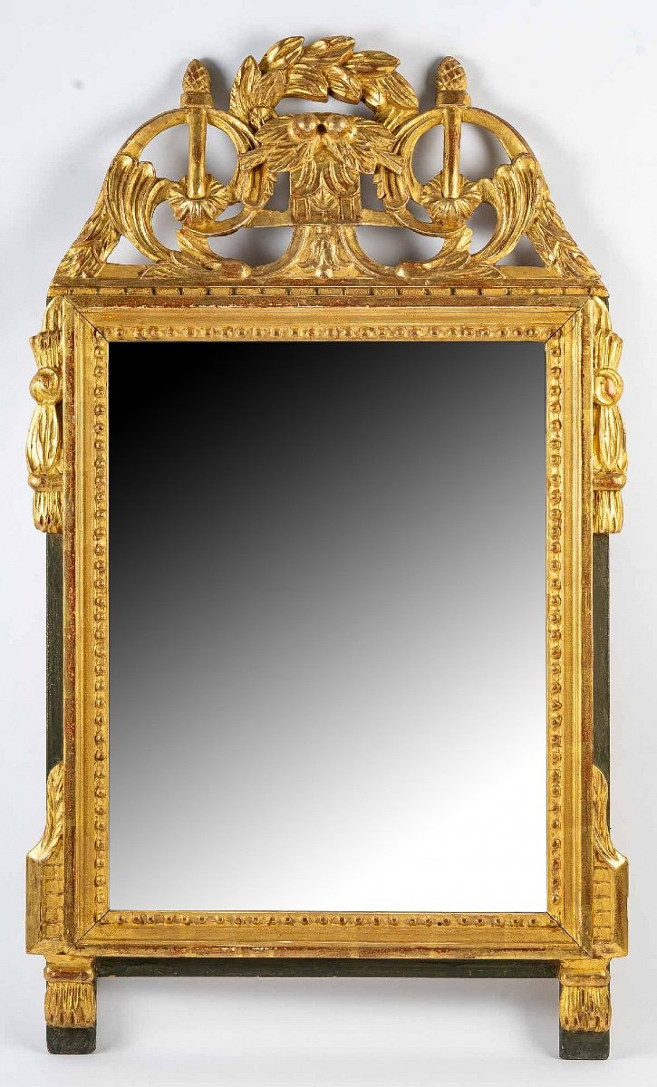 Provence Louis XVI Period Wedding Carved Gilt-wood Front Top Mirror Circa 1795-1785