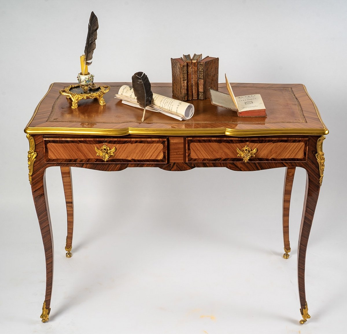 French Louis XV Period, Flat Rosewood And Kingwood Desk With Gilt-bronze Decoration Circa 1740-
