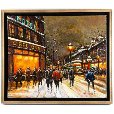 Armand Lourenco Oil On Canvas The Parisian Boulevard Des Capucines Circa 1950-1960