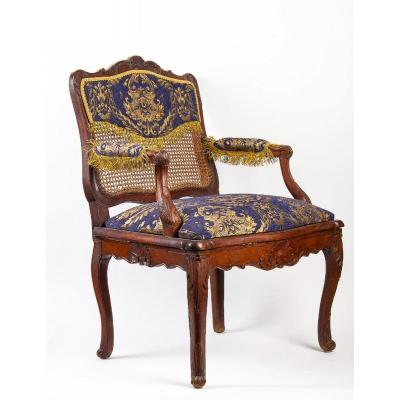 French Régence Period Hand- Carved Wood And Caned Armchair Circa 1720