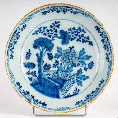 Sign By Ax Porcelain Factory, Mid-18th-century, Large Faience Delft Round Cup