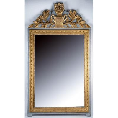 Provence Louis XVI Period Gilt And Lacquered Wood  Front Top Mirror Circa 1780