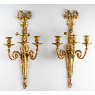 French Louis XVI Period Important Pair Of Ormolu Chiseled Sconces 18th-century
