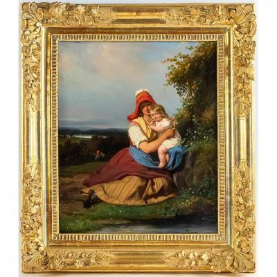 Romantic Period Woman With Child Oil On Canvas Signed Julien Michel Gué Circa 1830