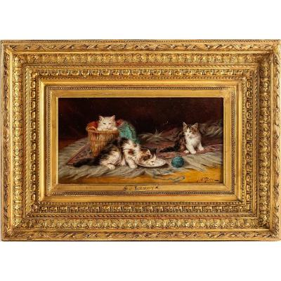 Jules Gustave Leroy Oil On Panel Three Cats And A Ball Of Wool Circa 1890-1900