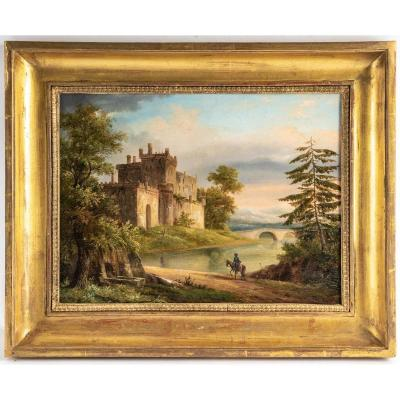 French School Of The 19th-century Oil On Canvas Back To The Castle