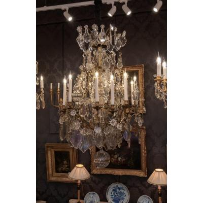 French Louis XV Period, Rare Gilt-bronze And Cut-crystal Chandelier Circa 1740-1750