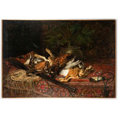 Alfred Puissant Oil On Canvas Still Life With Hare Circa 1880