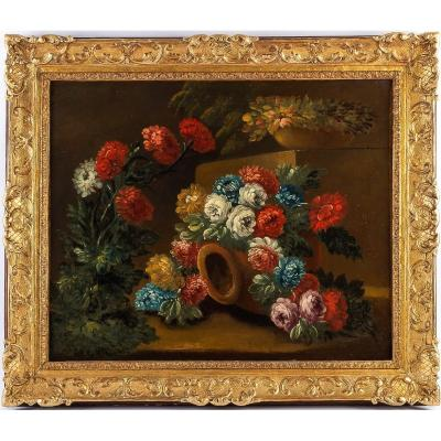 Early-19th-century French School Oil On Canvas Peony Bouquets On Stone Ledge