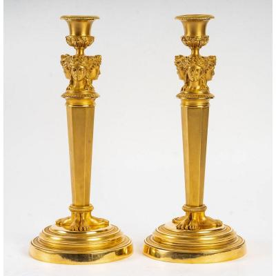Claude Galle (attributed To) - French Empire Period Pair Of Chiseled Gilt Bronze Candelsticks