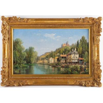 Charles-euphrasie Kuwasseg Houses In The Alps By The River Circa 1870-1880