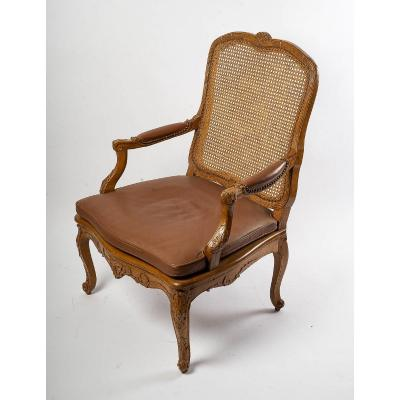 Jean-baptiste Cresson - Large French Louis XV Period Carved Caned Armchair Circa 1750