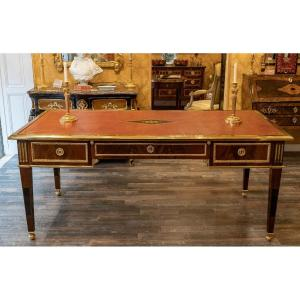 French Louis XVI Style Exceptional Mahogany Flat Desk With Gilt Bronze And Leather Decoration