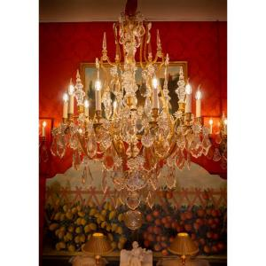 Baccarat Large French Louis XVI Style Gilt-bronze Chandelier And Cut-crystal  Decoration Circa