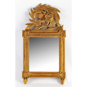 French Louis XVI Period - Small Hand-carved Gilt Wood Front Top Mirror Circa 1780