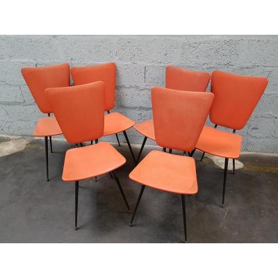 Suite de 6 chaises années 60