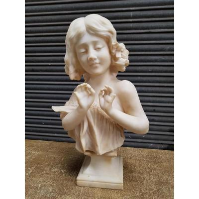 Buste De Jeune Fille Marbre De Carrare