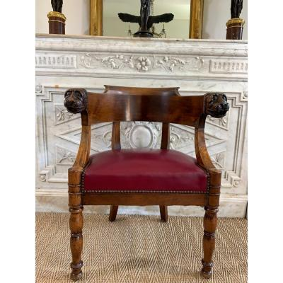 Officer Armchair From Jacob With Lion Heads Empire Period