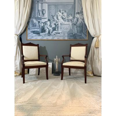 Jacob Desmalter, Pair Of Armchairs With The Stamped Queen. Empire