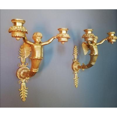 Feuchère :very Rare Pair Of Sconces. End Of Empire Period.