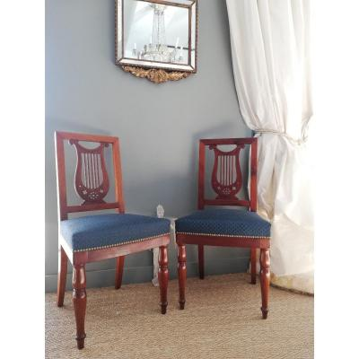 Jacob / Compiègne: Pair Of Chairs At The Lyre Empire Period 1806. Stamped And Marks Of Inve
