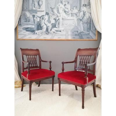 Georges Jacob / Jacob Freres, Pair Of Etruscan Armchairs From The Directoire Period, Late 18th Century.