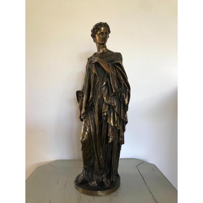 Bronze Ancien Statue De Virgile Par Ve Blavier époque XIX ème Siècle