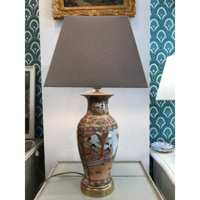 Old Japanese Porcelain Lamp In The Satsuma Spirit Brass Frame Th. Late 19th Century