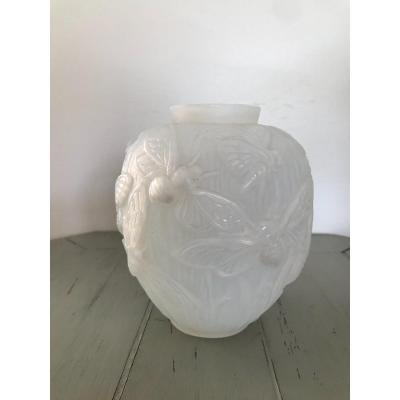 Old Art Deco Opalescent Vase Signed Verlys Decor Butterfly XXth Century
