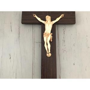 Ancien Christ En Ivoire d'époque Fin Du XIX ème Siècle Religieux Dévotion