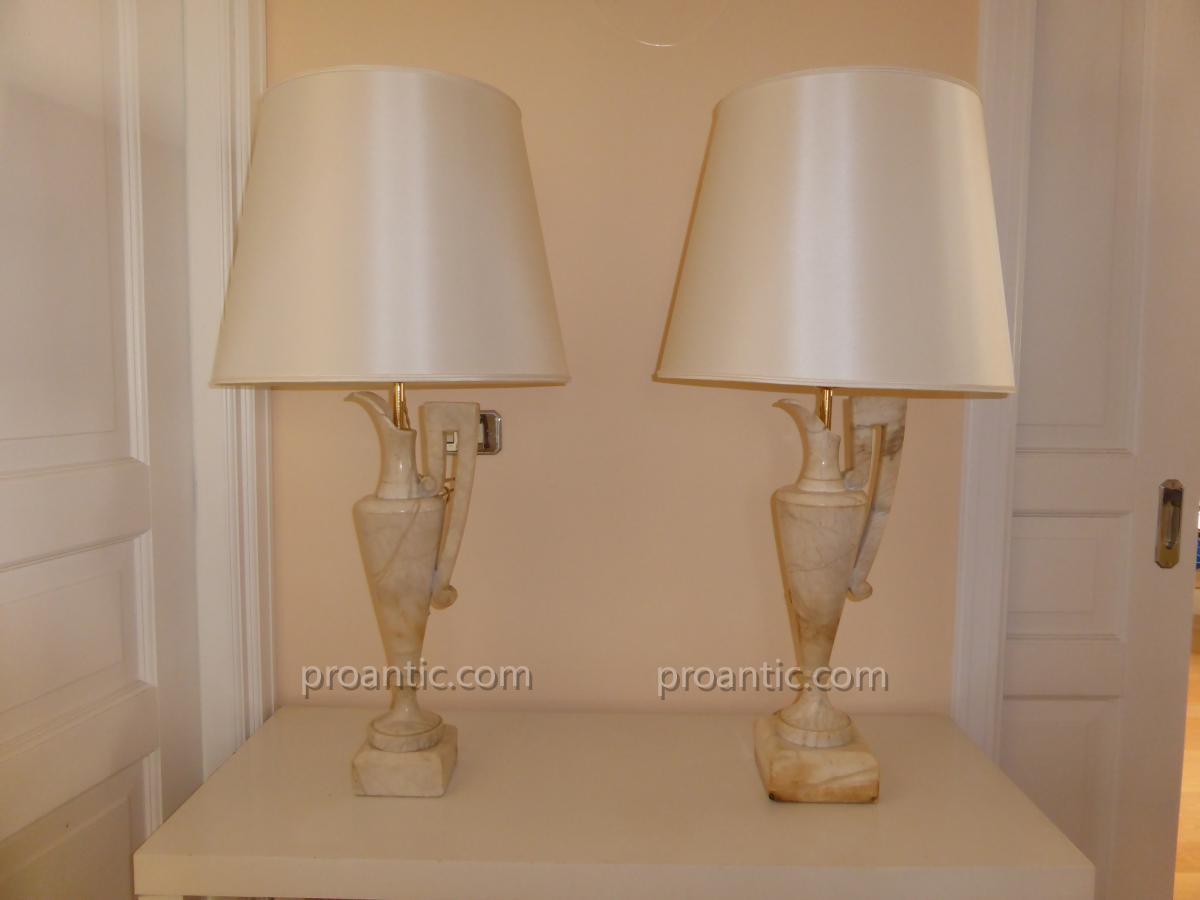 paire de lampe en albatre xx me lampes. Black Bedroom Furniture Sets. Home Design Ideas