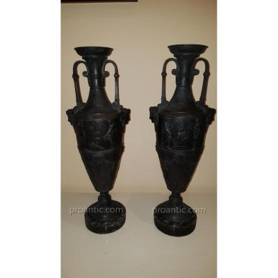 Paire De Vases En Régule Patiné