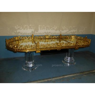 table basse en bronze et plexiglass