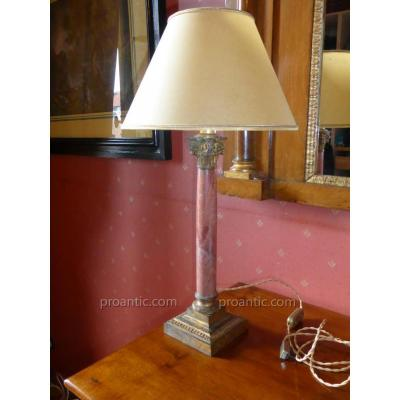 Lampe Colonne en marbre rose et bronze