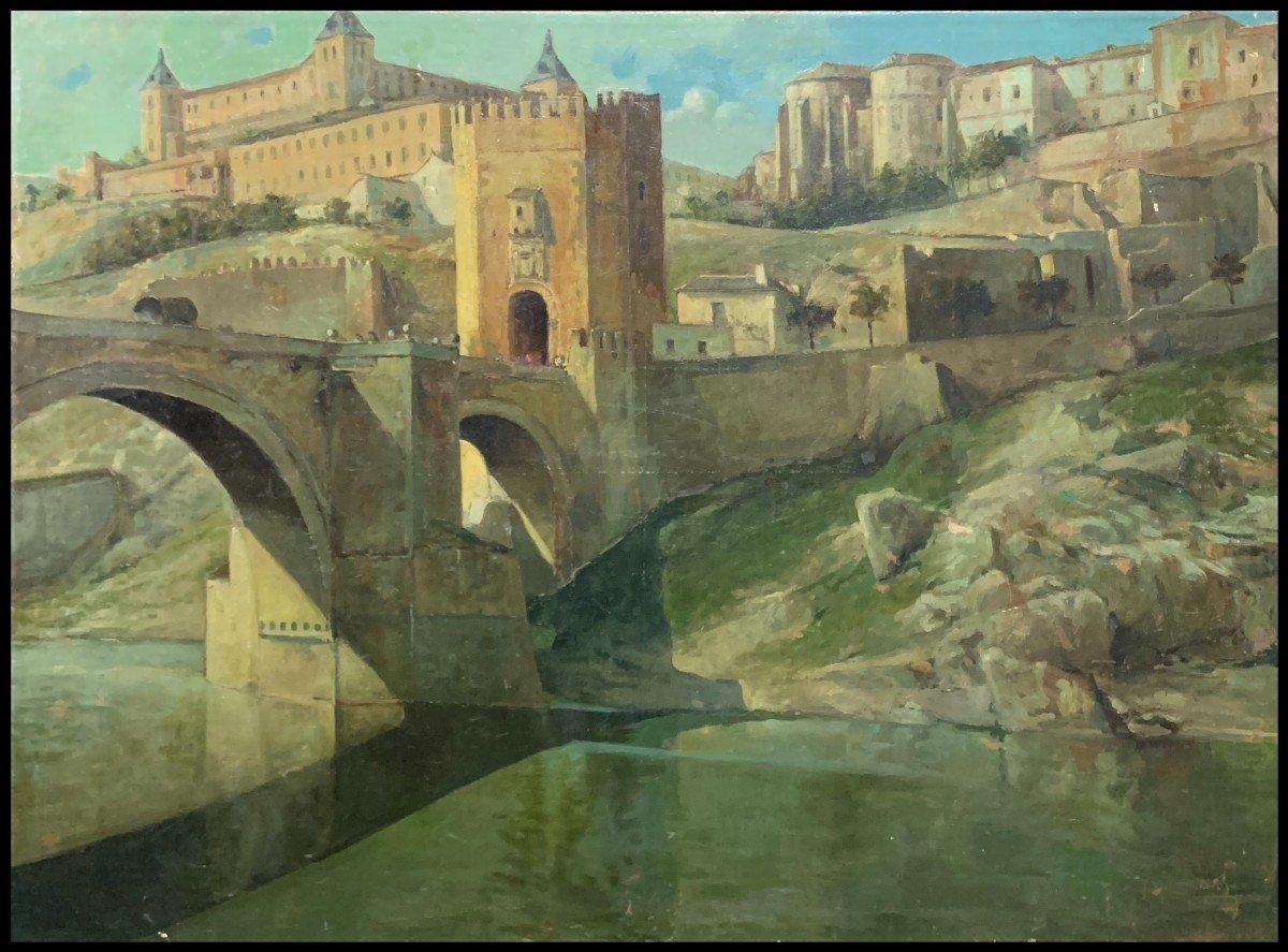 Êcole Espagnole (debut XXème) - Tolède: Le Pont d'Alcantara