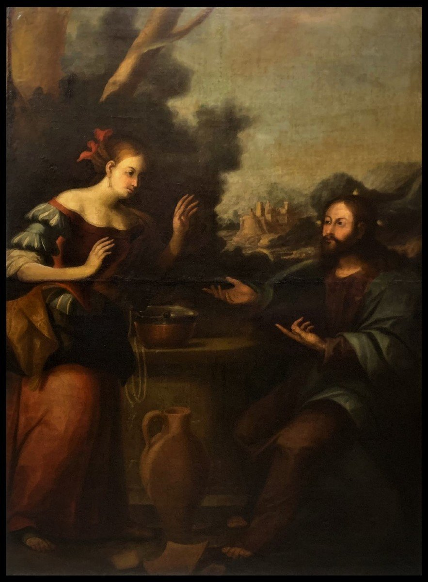Genoise School (late 17th Century) - Jesus And The Samaritan Woman At The Well