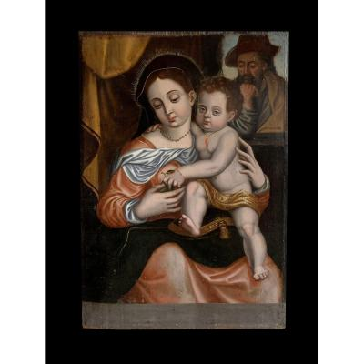 Spanish School Early XVIth - Beautiful Holy Family In Panel Signed Santiago Martin
