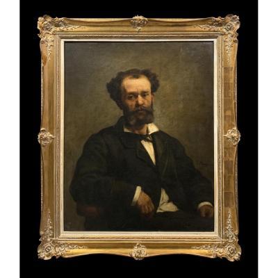 Edouard Moyse (1827-1908) - Portrait Of A Belgian Jew