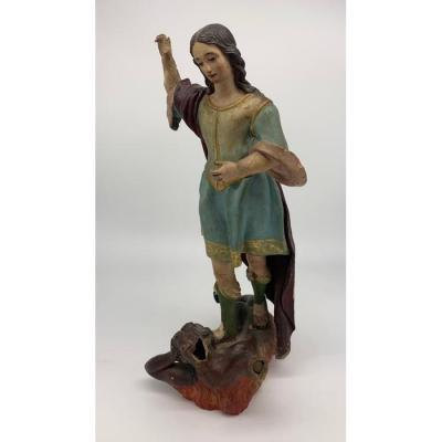 Magnificent Sculpture Saint Michael And The Devil - Spain, Late 18th Century