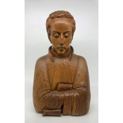 Magnificent Life Size Bust In Tropical Wood By Simón Bolívar - Early 20th Century